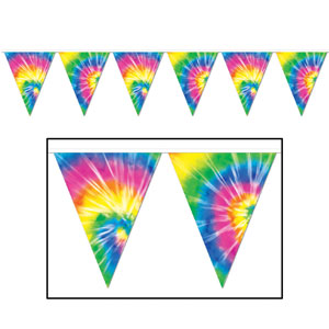 Tie-Dyed Pennant Banner - 12ft