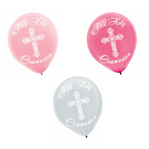 Pink and Grey Communion Printed Latex Balloons- 15ct