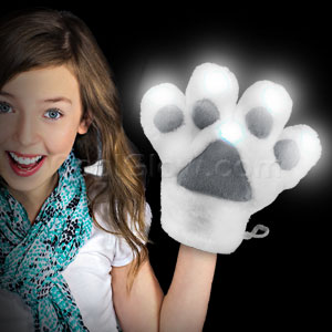 LED Furry Mascot Paw - White