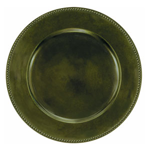 Green Round Metallic Charger- 14 Inch