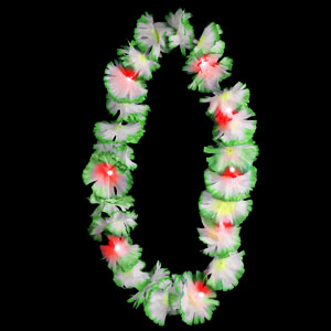 LED Silk Flower Leis- Green