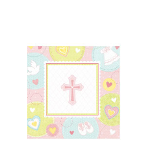 Sweet Christening Pink Beverage Napkins- 16ct