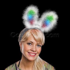 Fun Central O970 LED Light Up Bunny Ears Supreme - Black