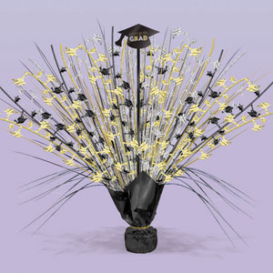 Black Silver and Gold Grad Spray Centerpiece- 15in