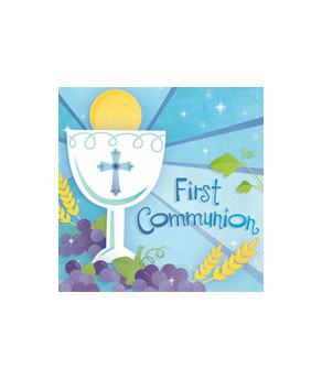 First Communion Blue Beverage Napkins- 36ct