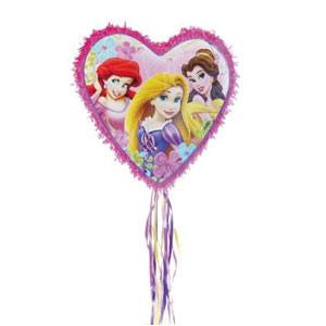 Pull String Heart Shaped Disney Princess Pinata