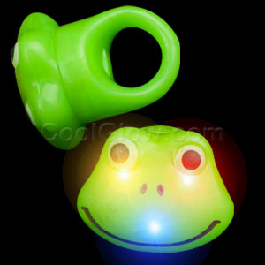 LED Jelly Frog Rings - Green
