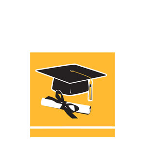 Grad Beverage Napkins - Yellow