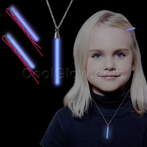 Glow Hair Pins and Pendant Necklace Set - Blue