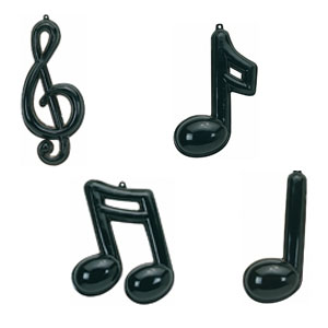 Music Note Assorted Plastic Molded Decorations- 25in