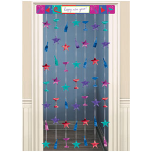 New Years Doorway Curtain - Jewel Tones 78 Inch