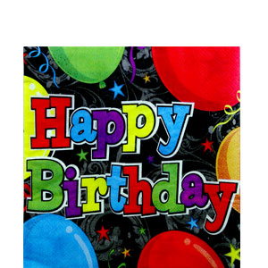 Birthday Balloons Luncheon Napkins