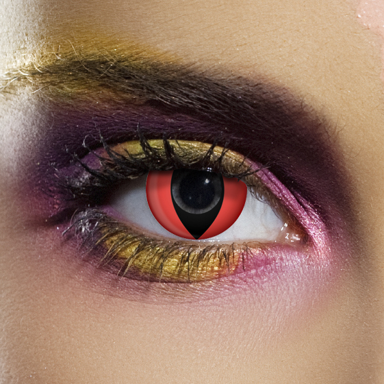 Novelty Contact Lenses - Red Cat