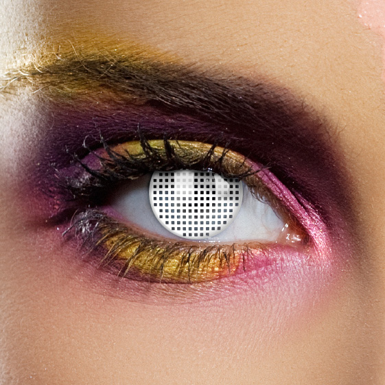 Novelty Contact Lenses - White Mesh