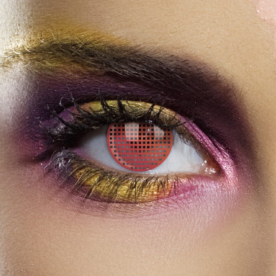 Novelty Contact Lenses - Red Mesh