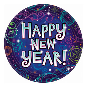 New Year Midnight Festivities Plates- 9 Inch 18ct