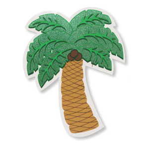 Palm Tree Plastic Glitter Cutout- 12in