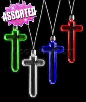 LED Pendant Necklace - Assorted Cross