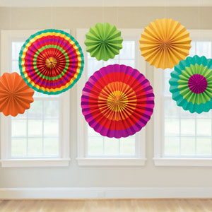 Fiesta Paper Fan Decorations- 6ct