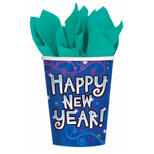New Year Midnight Festivities 9oz. Paper Cups- 18ct