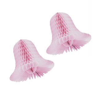 Honeycomb Wedding Bells- Pink 9 Inch 2ct
