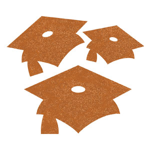 Grad Cap Glitter Cutouts - Orange