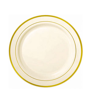 Gold Trimmed Plastic Plates- 7 Inch 20ct