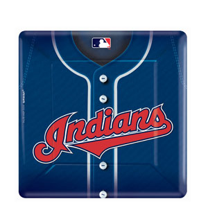 Cleveland Indians Square 10 Inch Plates- 18ct