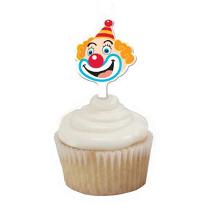 Big Top Birthday Clown Face Cupcake Toppers- 12ct