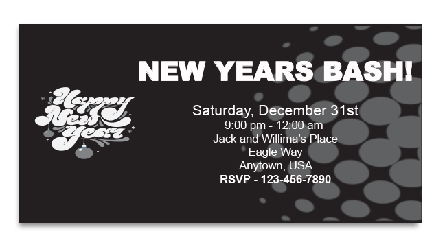 Black Retro New Year - Custom Invitations