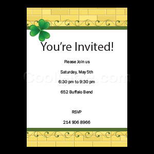 Gold Brick Clover - Custom Invitations