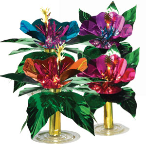 Hibiscus Mini Foil Centerpieces- 4ct