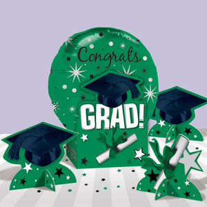 Graduation Green Balloon Centerpiece- 5pc