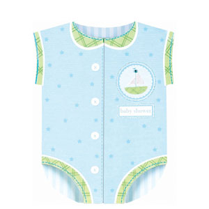 Onesie Novelty Baby Shower Invitation Cards - Blue