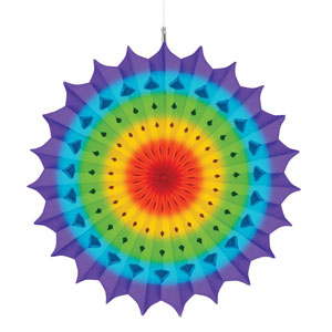Rainbow Hanging Fan Decoration- 16in