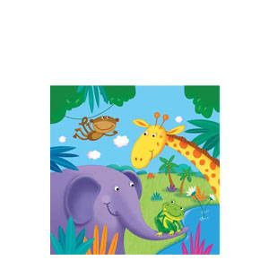 Jungle Buddies Beverage Napkins- 16ct