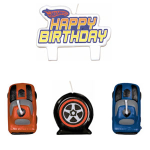 Hot Wheels Mini Molded Cake Candles- 4pc