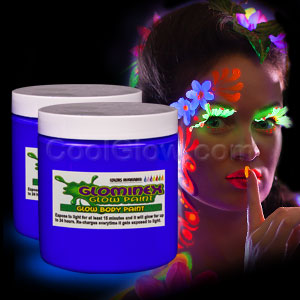 Glominex Glow Body Paint 8oz Jar - Blue