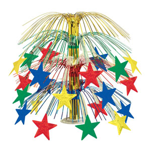 Multicolored Star Cascade Centerpiece - 18in
