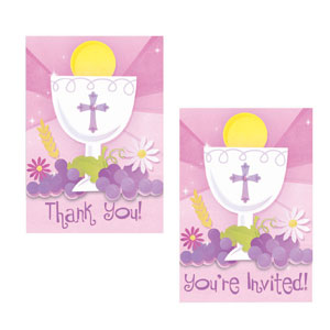 First Communion Pink Invitation and Thank You Card Set- 20ct