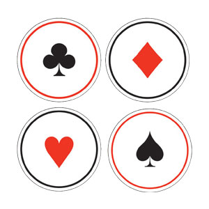 Card Night Casino Card Suit Coasters- 6ct