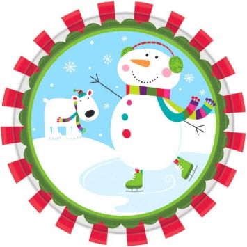 Joyful Snowman Plates 7 inches