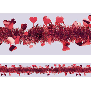 Red Heart Tinsel Garland- 25ft