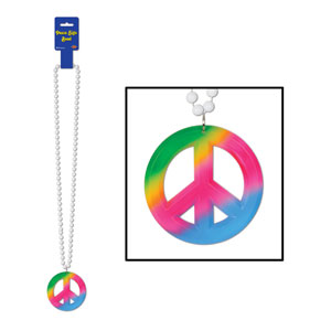 Peace Sign Medallion Beads - 36in