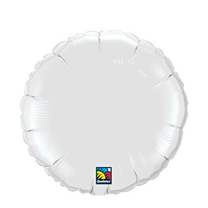 18 Inch Round Metallic Balloon- White