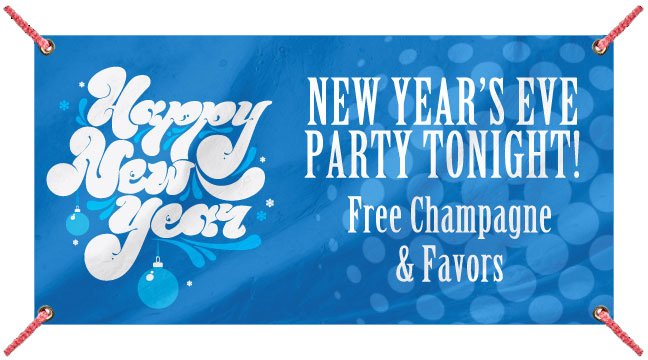 Blue Retro New Year - Custom Banner