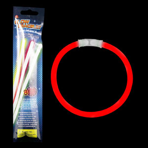 8 Inch Retail Packaged Glow Bracelets - Red
