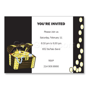 Treasure Chest Black - Custom Invitations