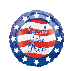 Patriotic Land of the Free Balloon- 18in