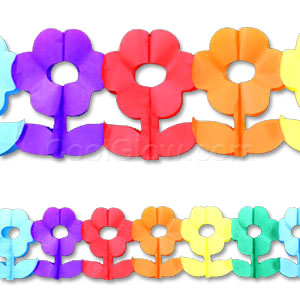 Multicolor Flowers Paper Garland - 12ft